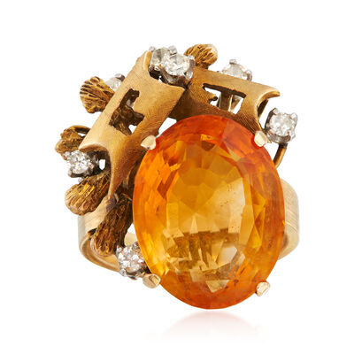C. 1960 Vintage 9.30 Carat Citrine and .25 ct. t.w. Diamond Geometric-Style Ring in 14kt Yellow Gold, , default