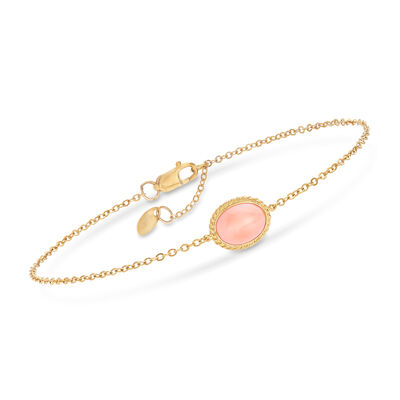 8x6mm Coral Bracelet in 14kt Yellow Gold, , default