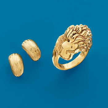 Italian 18kt Yellow Gold Lion Head Ring, , default