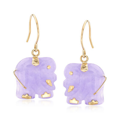 Purple Jade Elephant Earrings in 14kt Yellow Gold, , default