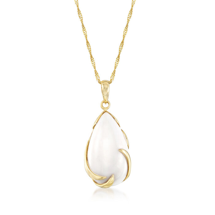 20x11mm White Agate Pendant Necklace in 14kt Yellow Gold