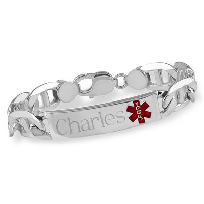 Men's Sterling Silver Medical Alert Anchor Link Bracelet with Enamel