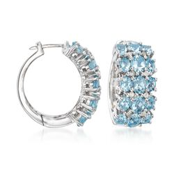 "5.90 ct. t.w. Aquamarine and .24 ct. t.w. Diamond Hoop Earrings in Sterling Silver. 7/8"", , default"
