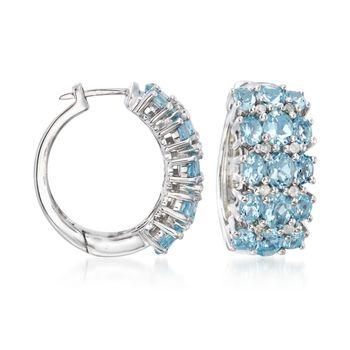 "5.90 ct. t.w. Aquamarine and .24 ct. t.w. Diamond Hoop Earrings in Sterling Silver. 7/8"", , default"