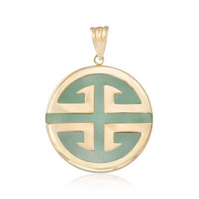 "Green Jadeite Jade ""Longevity"" Chinese Symbol Circle Pendant in 14kt Gold, , default"