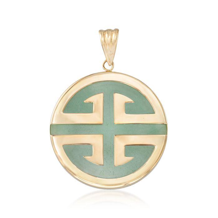 "Green Jadeite Jade ""Longevity"" Chinese Symbol Circle Pendant in 14kt Gold"