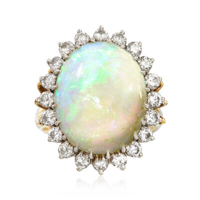 C. 1970 Vintage Oval Cabochon Opal Ring with 1.00 ct. t.w. Diamond Halo in 18kt Yellow Gold, , default