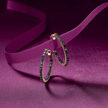 """2.00 ct. t.w. Black Diamond Inside-Outside Hoop Earrings in 14kt Yellow Gold. 7/8"""", , default"""