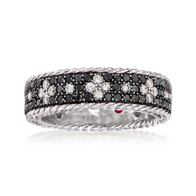 "Roberto Coin ""Venetian Princess"" 1.50 ct. t.w. Black and White Diamond Flower Ring in 18kt White Gold"