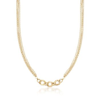 Italian 14kt Yellow Gold Textured Link Centerpiece Necklace, , default