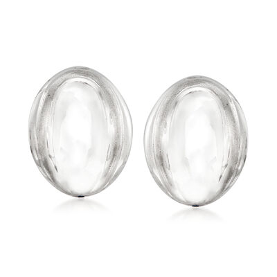 Italian 18kt White Gold Oval Dome Clip-On Earrings, , default