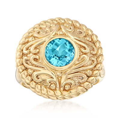 1.60 Carat Blue Topaz Scroll Ring in 14kt Yellow Gold, , default