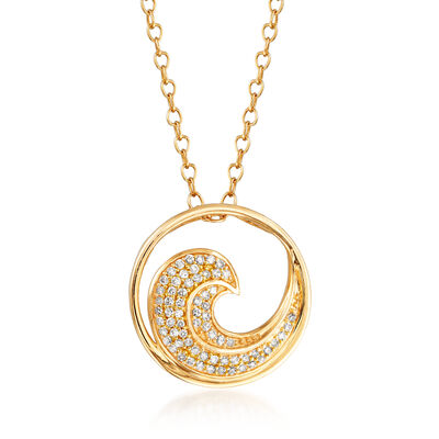 .12 ct. t.w. Pave Diamond Wave Necklace in 14kt Yellow Gold