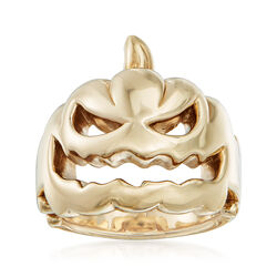 14kt Yellow Gold Jack-O-Lantern Pumpkin Ring, , default