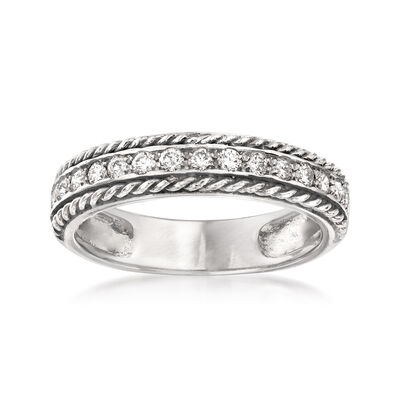 .34 ct. t.w. Diamond Roped Border Ring in 14kt White Gold