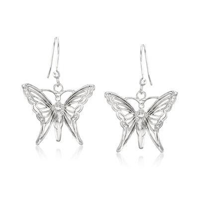 Italian Sterling Silver Butterfly Drop Earrings