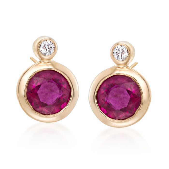 .60 ct. t.w. Bezel-Set Ruby Earrings with Diamond Accents in 14kt Yellow Gold, , default