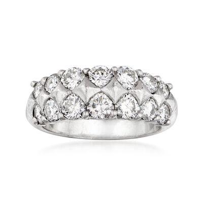 C. 1980 Vintage 2.15 ct. t.w. Diamond Double-Row Ring in Platinum