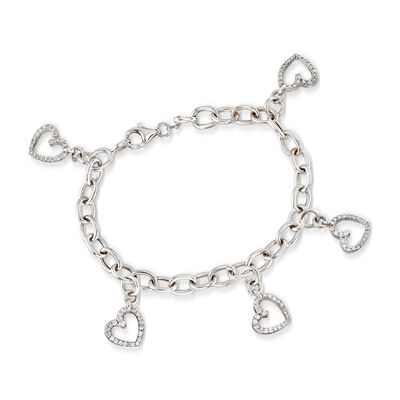 C. 2000 Vintage 2.50 ct. t.w. Diamond Heart Charm Bracelet in 18kt White Gold, , default