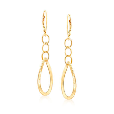 Italian 14kt Yellow Gold Oval-Link Drop Earrings