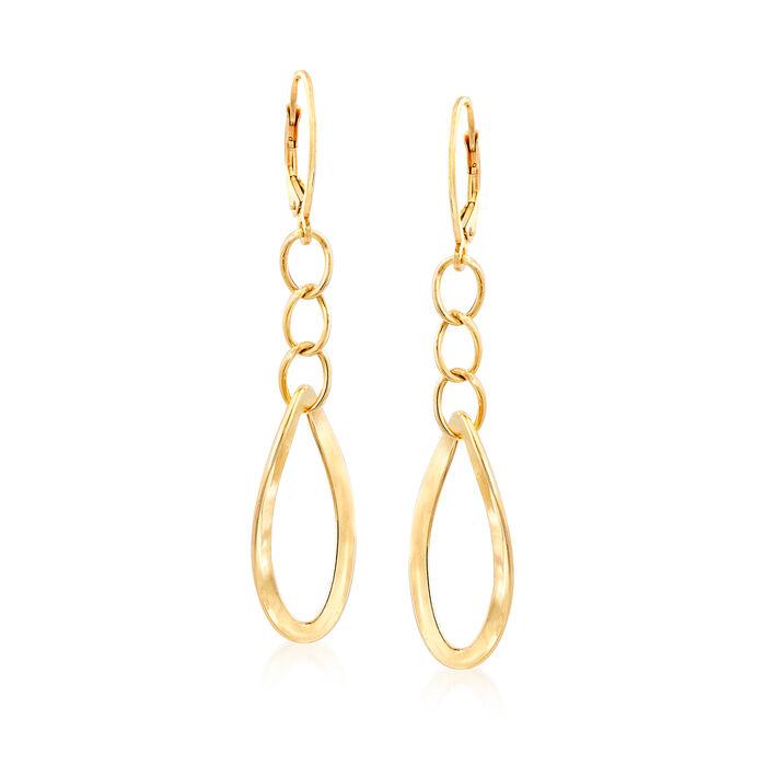 Italian 14kt Yellow Gold Oval-Link Drop Earrings, , default