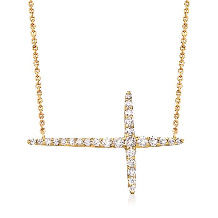 ".51 ct. t.w. Diamond Sideways Cross Necklace in 14kt Yellow Gold. 18"", , default"
