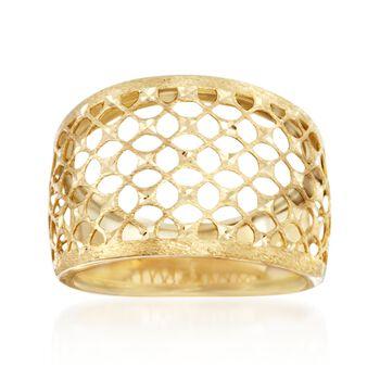 Italian 14kt Yellow Gold Textured and Diamond-Cut Lattice Ring, , default