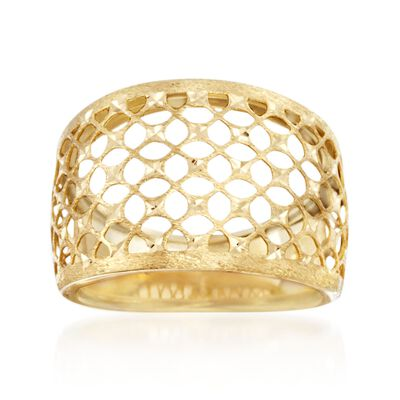 Italian 14kt Yellow Gold Textured and Diamond-Cut Lattice Ring, , default