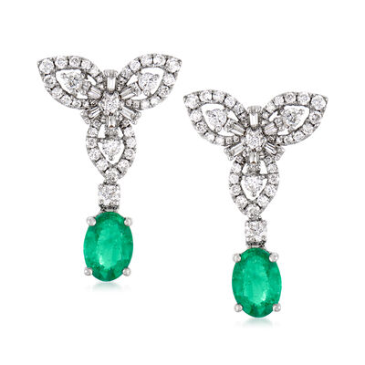 1.30 ct. t.w. Emerald and .80 ct. t.w. Diamond Drop Earrings in 18kt White Gold, , default