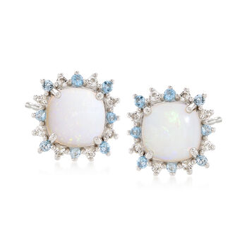 Square Cabochon Opal and .80 ct. t.w. Blue and White Topaz Stud Earrings in Sterling Silver , , default