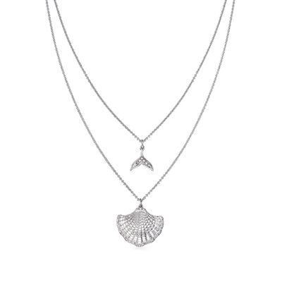 .10 ct. t.w. Diamond Mermaid Tail and Seashell Two-Strand Necklace in Sterling Silver