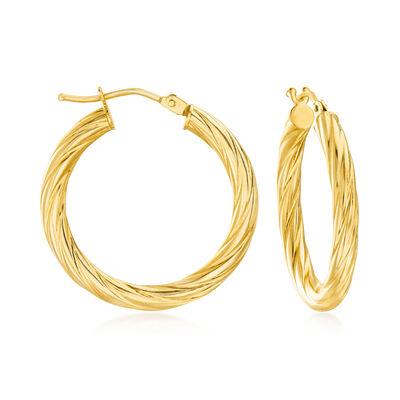 Italian 18kt Yellow Gold Twisted Hoop Earrings