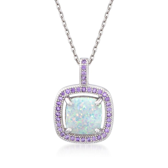 """Simulated Opal and Simulated Amethyst Square Pendant Necklace in Sterling Silver. 18"""", , default"""