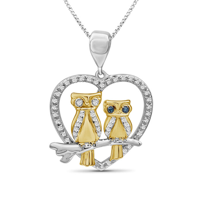 """.16 ct. t.w. Diamond Owl Pendant Necklace in Two-Tone Sterling. 18"""", , default"""