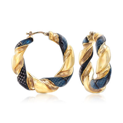 Italian 18kt Gold Over Sterling Hoop Earrings with Black Snakeskin Enamel, , default