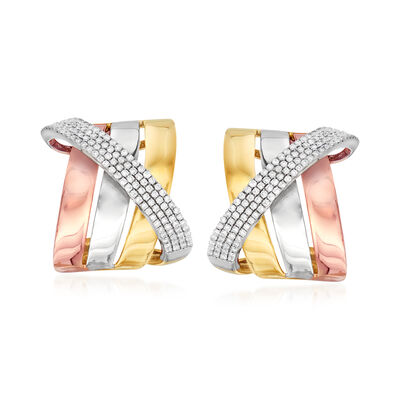 1.00 ct. t.w. Diamond Sash Earrings in 14kt Tri-Colored Gold