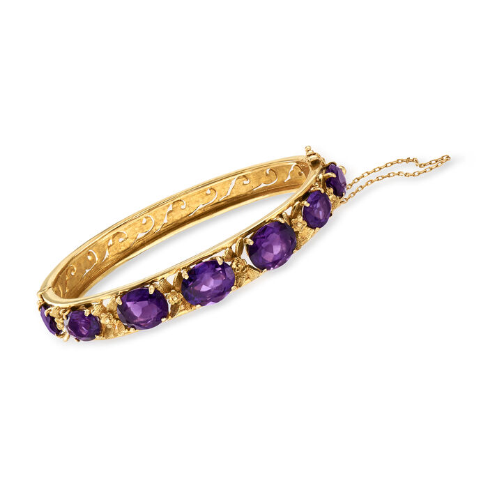 C. 1970 Vintage 16.00 ct. t.w. Amethyst Bangle Bracelet in 14kt Yellow Gold. 7""
