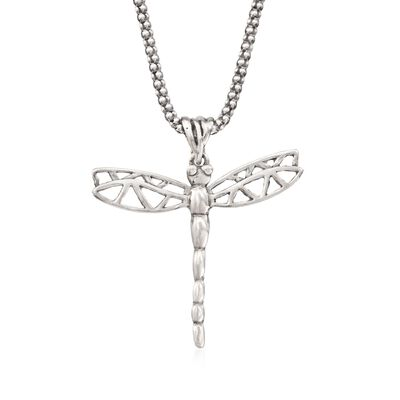 Sterling Silver Dragonfly Pendant Necklace, , default