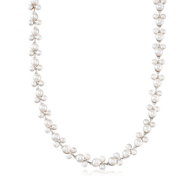5-7.5mm Cultured Pearl Pearl Trio Necklace in Sterling Silver