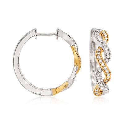 .50 ct. t.w. Diamond Twist Hoop Earrings in Sterling Silver and 18kt Gold Over Sterling, , default