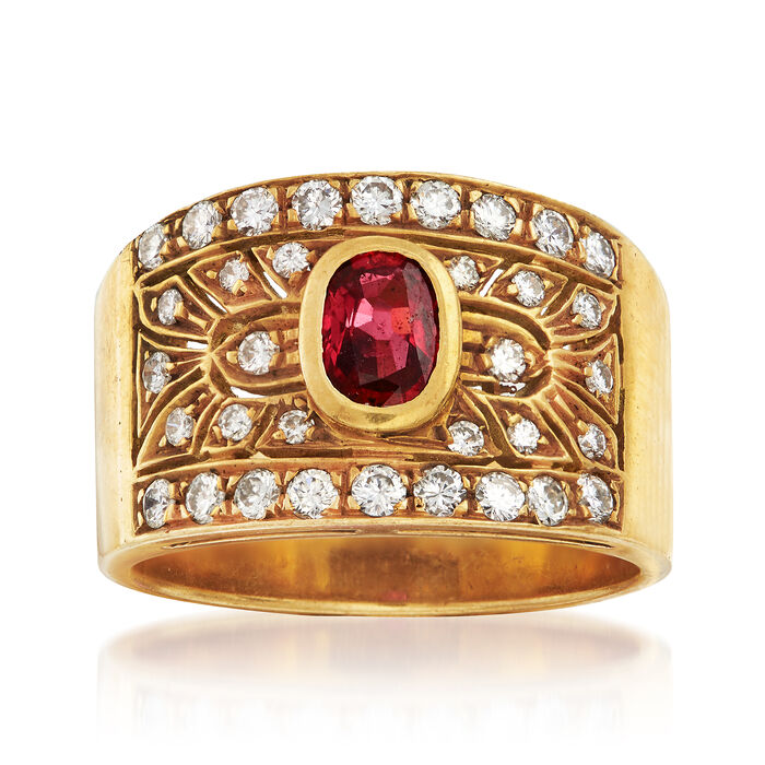 C. 1980 Vintage .50 Carat Ruby and .65 ct. t.w. Diamond Ring in 18kt Yellow Gold. Size 7.5