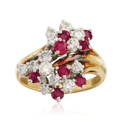 C. 1980 Vintage .75 ct. t.w. Ruby and .75 ct. t.w. Diamond Cluster Ring in 18kt Yellow Gold, , default