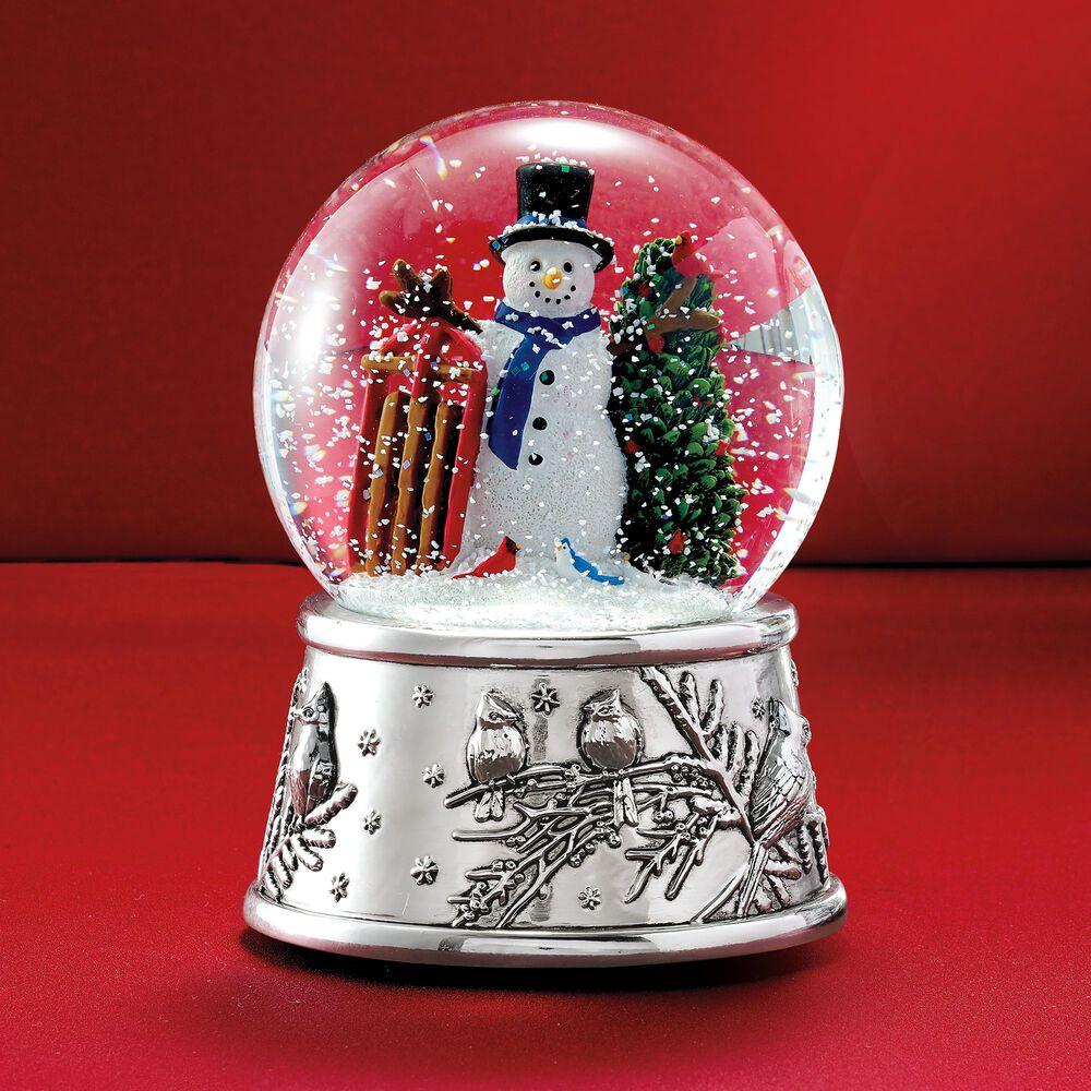 reed barton snowman and sleigh musical snow globe default - Christmas Musical Snow Globes