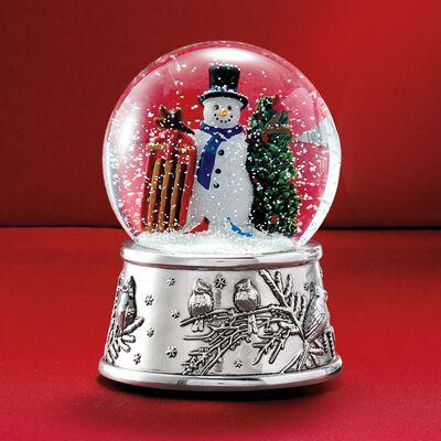 Reed & Barton Snowman and Sleigh Musical Snow Globe, , default