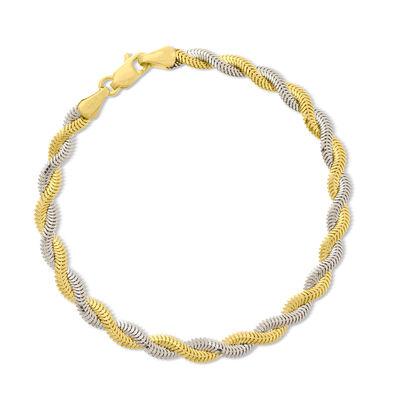 14kt Two-Tone Twisted Snake Chain Bracelet, , default