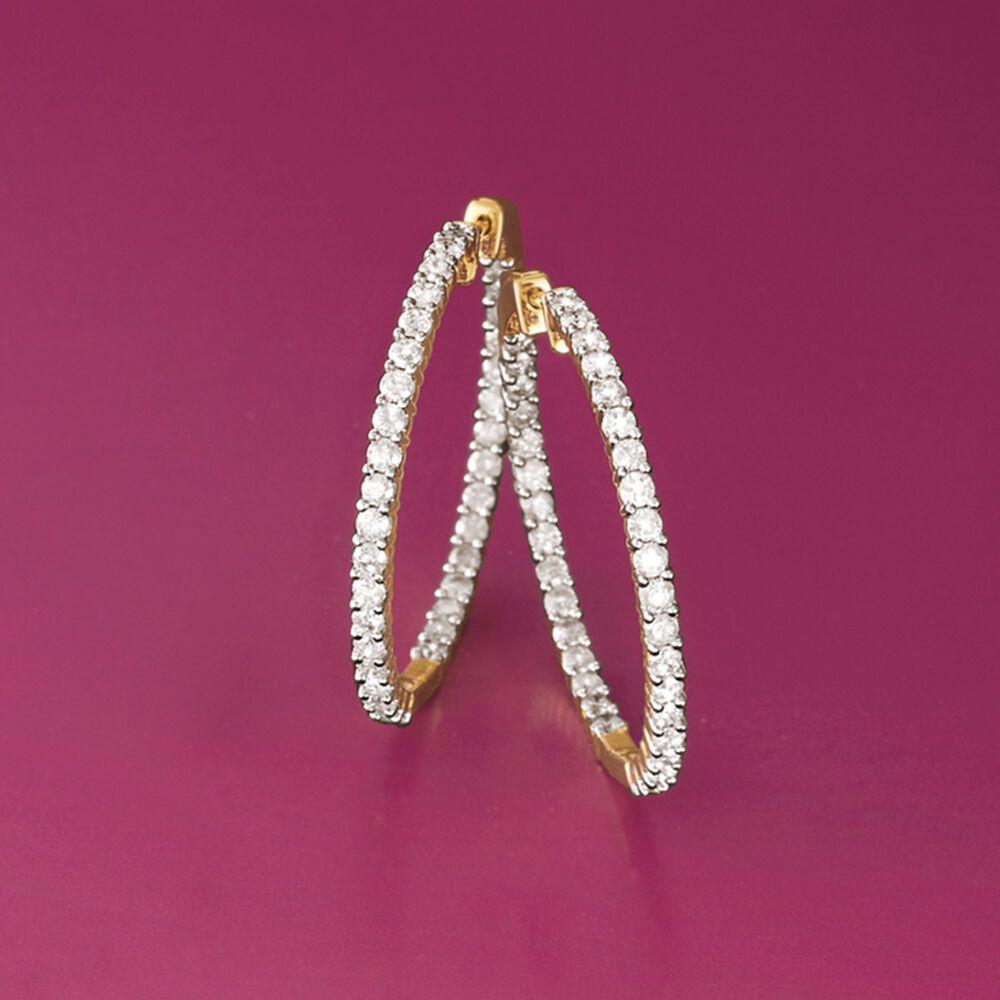 3.00 ct. t.w. Diamond Inside-Outside Hoop Earrings in 14kt Yellow ...