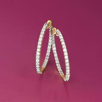 """3.00 ct. t.w. Diamond Inside-Outside Hoop Earrings in 14kt Yellow Gold. 1 3/8"""", , default"""
