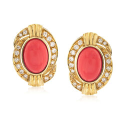 C. 1980 Vintage Orange Coral and 1.14 ct. t.w. Diamond Oval Earrings in 18kt Yellow Gold, , default