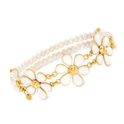 Italian 4mm Cultured Pearl and White Enamel Flower Bracelet in 18kt Gold Over Sterling, , default