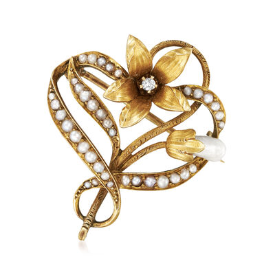 C. 1930 Vintage 2.5mm Cultured Pearl Flower Pin with Diamond Accent in 14kt Yellow Gold, , default
